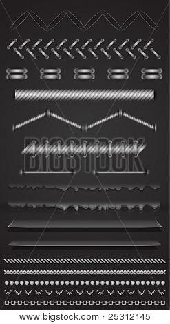 Divider separator set made of shadows, threads, ropes