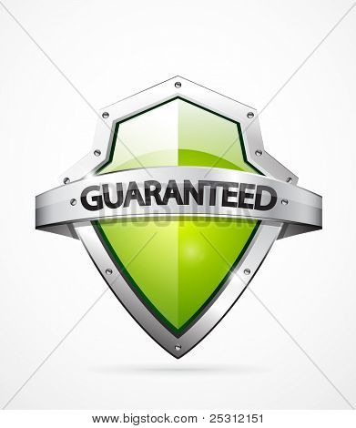 Vector guaranteed shield icon. Green color