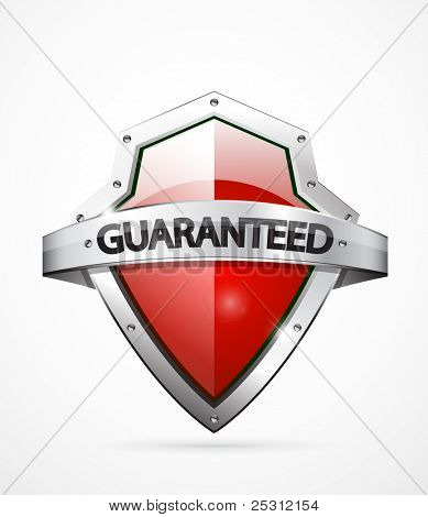 Vector guaranteed shield icon. Red color