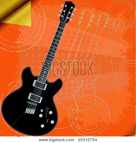 Vector  Retro Background With Electric Guitar
