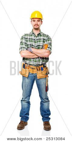 portrait of carpenter crossed arms isolated on white