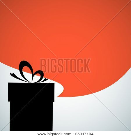 Vector Abstract christmas present silhouette with big red bubble - place for your content