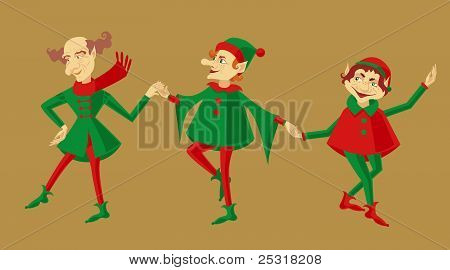 Three dancing elves