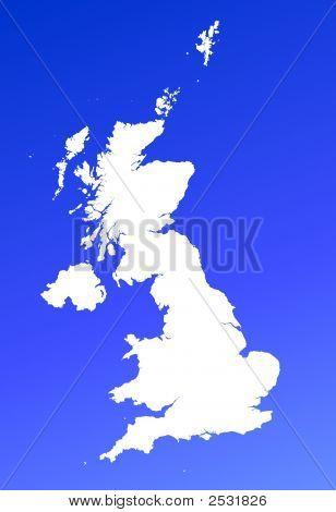 United Kingdom Map On Blue Gradient Background