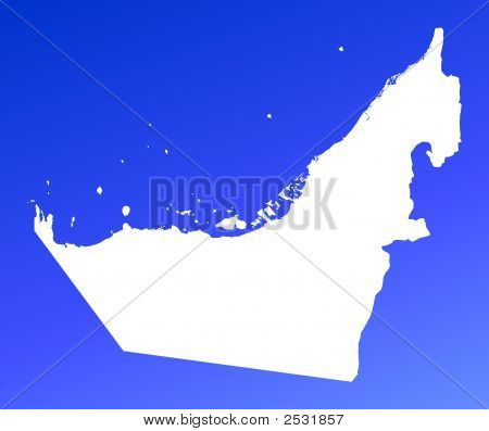 United Arab Emirates Map On Blue Gradient Background
