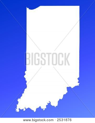 Indiana(Usa) Map On Blue Gradient Background