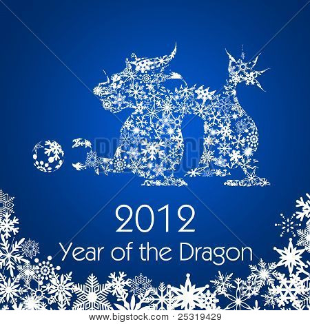 Chinese New Year Dragon With Snowflakes Pattern