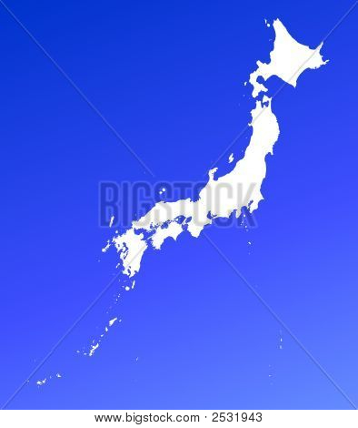 Japan Map On Blue Gradient Background
