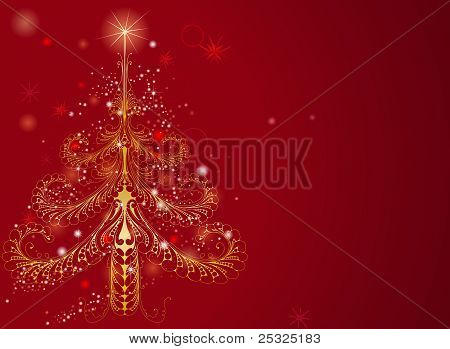 Beautiful Gold Christmas Tree Background