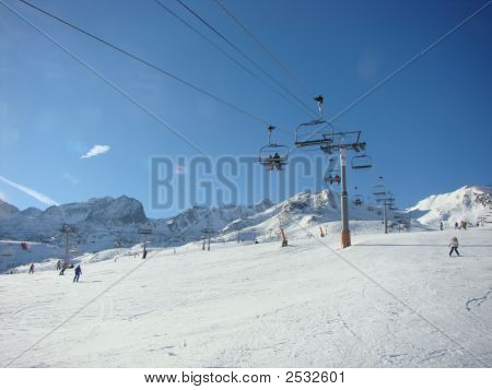 Mounting Skiing Resort In Andorra In The Winter.