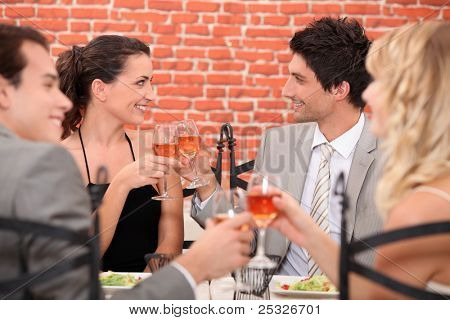romantic foursome at restaurant