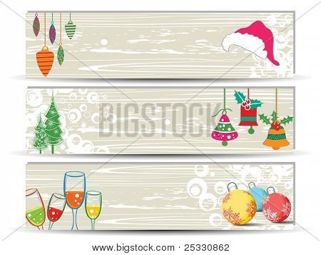 Vector set of three creative   banners or headers for Christmas and autumn having Christmas trees, bells and wineglass for autumn season