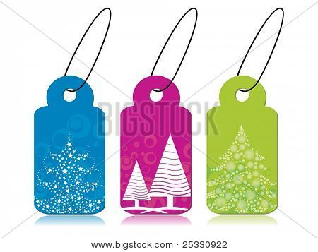 set of Christmas theme concept tags in blue, pink & green  color having stylish Christmas tree for Christmas & other occasions