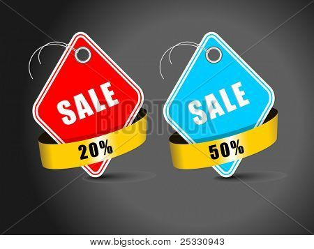 set of sale tag in red & blue color for with 20% & 50% discount best sale