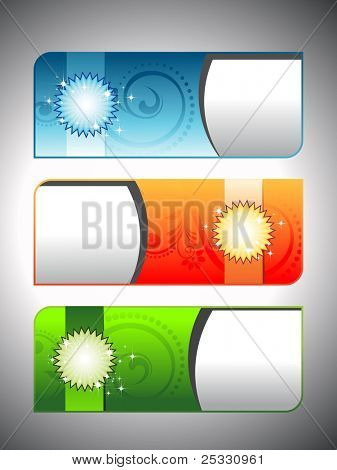 a set of three headers & banners in red, blue, green on gray background for all occasion