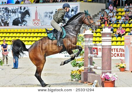 Equestrian sport. Female Rider On Jump Horse
