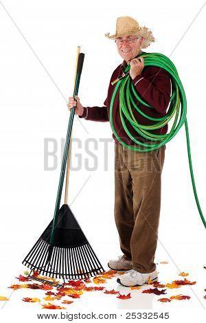 Happy Senior Yard-worker
