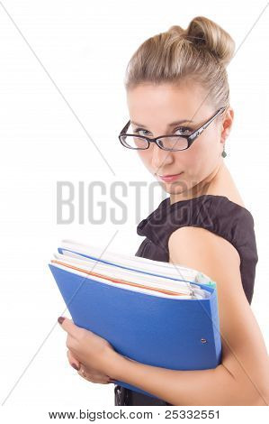 Rigorous Woman In Glasses With Papers