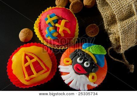 Colorful Dutch Sinterklaas cupcakes with pepernoten