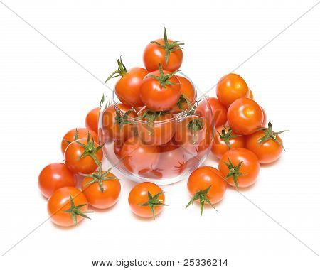 Ripe Cherry Tomatoes In A Glass Bowl On A White Background Closeup