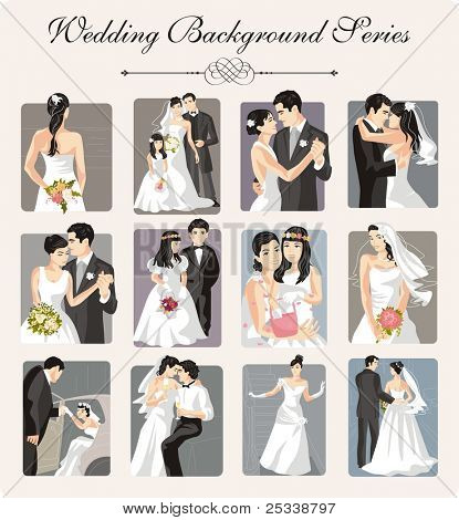 A set of 12 wedding vector illustrations.