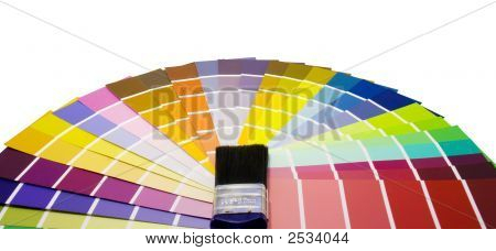 Fan Of Paint Colour Swatches And Brush