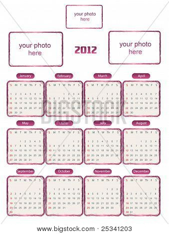 Kalender für 2012 mit Bilderrahmen