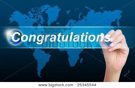 women hand writing congratulations