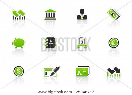 Financiero y bancario icon set