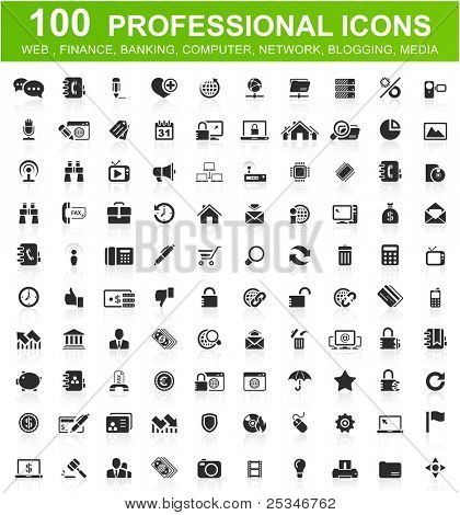 One hundred computer icons collection
