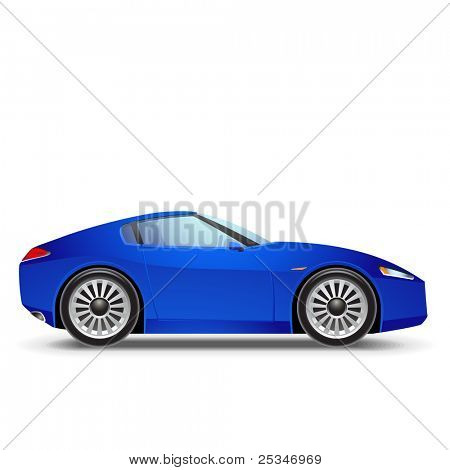 Blue  Sport car icon