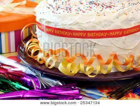 Happy Birthday cake close up.