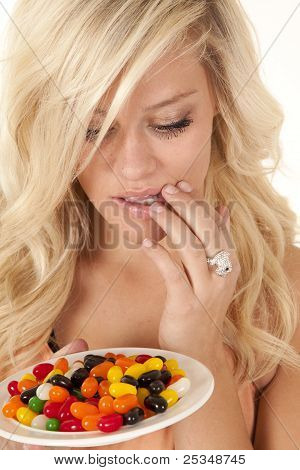 Woman Thinking Plate Jelly Beans