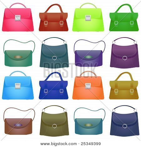 Colorful Woman Bag On White Background