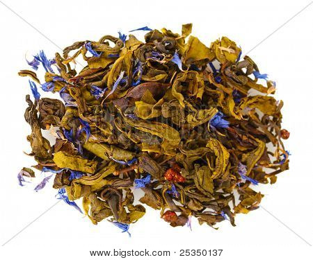 Pile of aromatic green dry tea leaves isolated on white