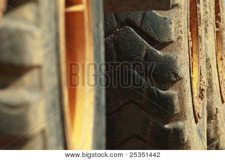 Close up shot of rugged rubber tires.