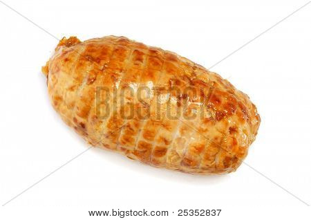 closeup of a piece of roastbeef on a white background
