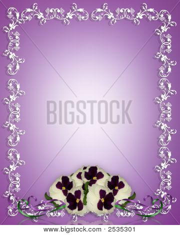 Pansies Shabby Chic Frame Or Background For Card