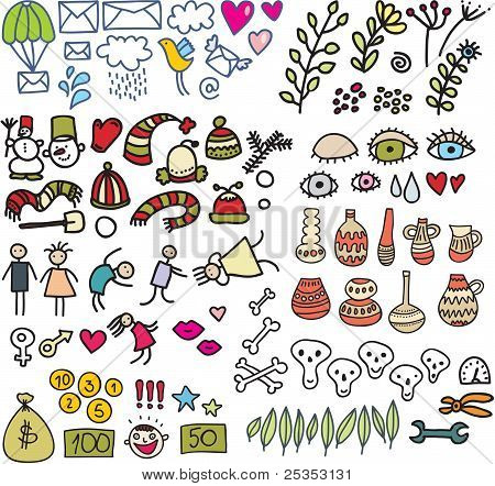 Mix of doodle images in vector. vol. 2