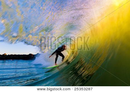 Surfer on Wave at Sunset, Getting Barreled in the Tube