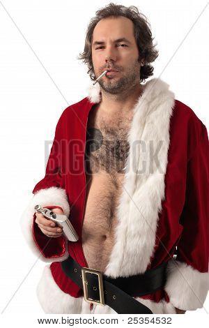 Santa Drinking And Smoking