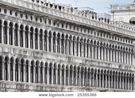 Archades Of Facade On Piazza San Marco In Venice