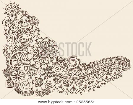 Henna Mehndi Doodles Abstract Paisley Flowers Vector Illustration Design Elements