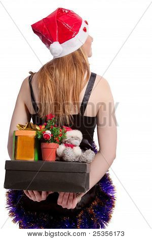 Caucasian Santa With Christmas Presents Holding Behind