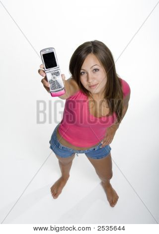 Teen Girl Showing Cell Phone