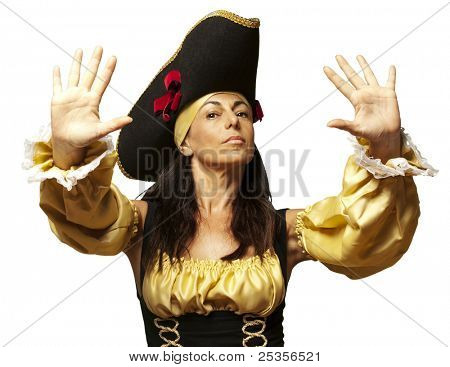 portrait of pirate woman gesturing stop against a white background