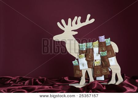 Euro bills in Advent Calendar