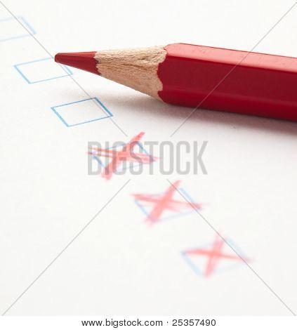 mark on check box of test closeup