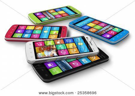 Aantal kleuren touchscreen smartphones