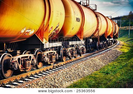 Train With Fuel Petrol Tanks On The Railway
